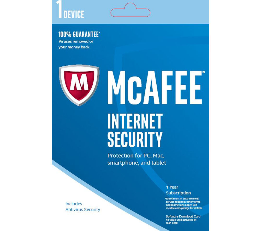 MCAFEE Internet Security 2017 - 1 year for 1 device