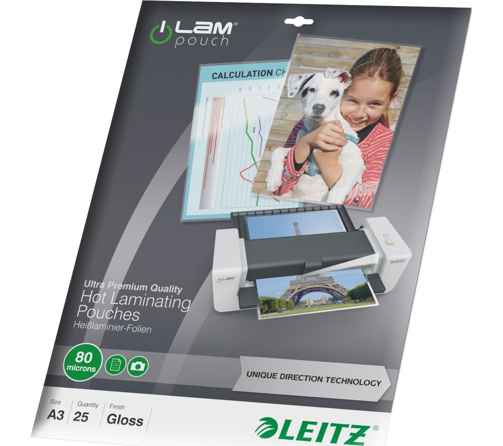 Image of LEITZ iLAM 80 Micron A3 Laminating Pouches - 25 Pack