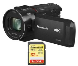 PANASONIC HC-VX1EB-K 4K Ultra HD Camcorder & 32 GB SDHC Memory Card Bundle