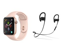 APPLE Watch Series 4 & Beats Powerbeats3 Wireless Bluetooth Headphones Bundle - Gold & Pink Sports Band, 44 mm