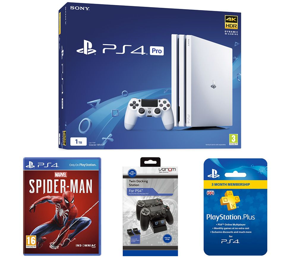 SONY PlayStation 4 Pro, Marvels Spider-Man, Twin Docking Station & PlayStation Plus Subscription Bu