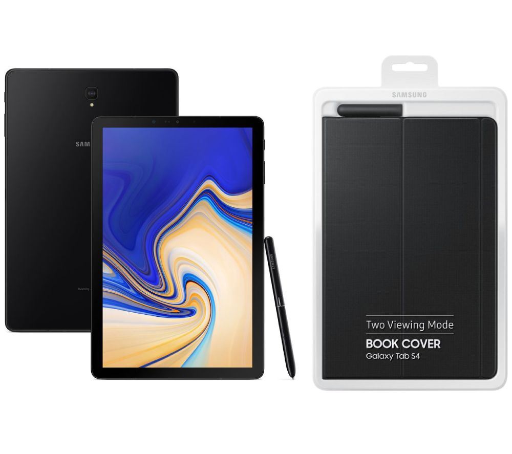 "Image of SAMSUNG Galaxy Tab S4 10.5"" Tablet & Book Cover Bundle - 64 GB, Ebony Black, Black"