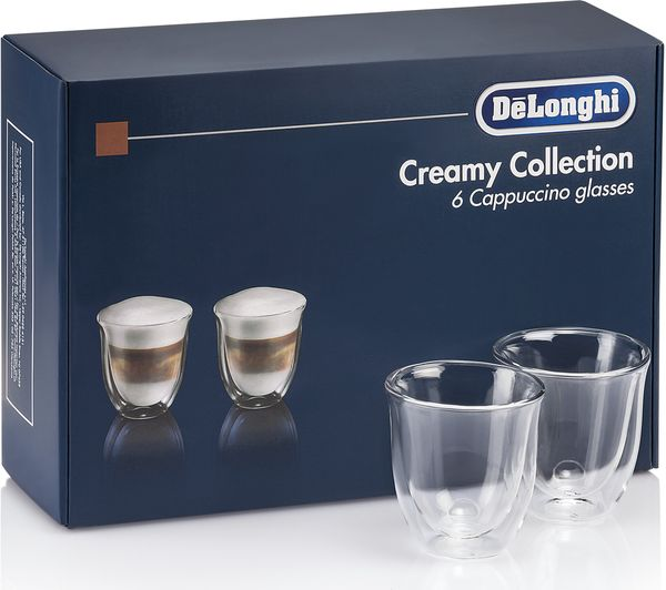 Image of DELONGHI Creamy Collection DLKC301 Double Wall Cappuccino Glasses - Pack of 6