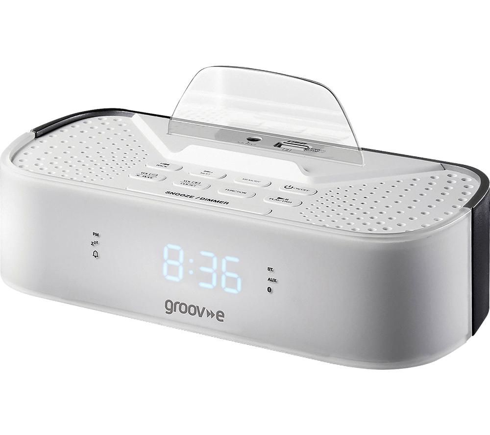 Image of GROOV-E Time Curve GV-SP406-WE FM Clock Radio - White, White