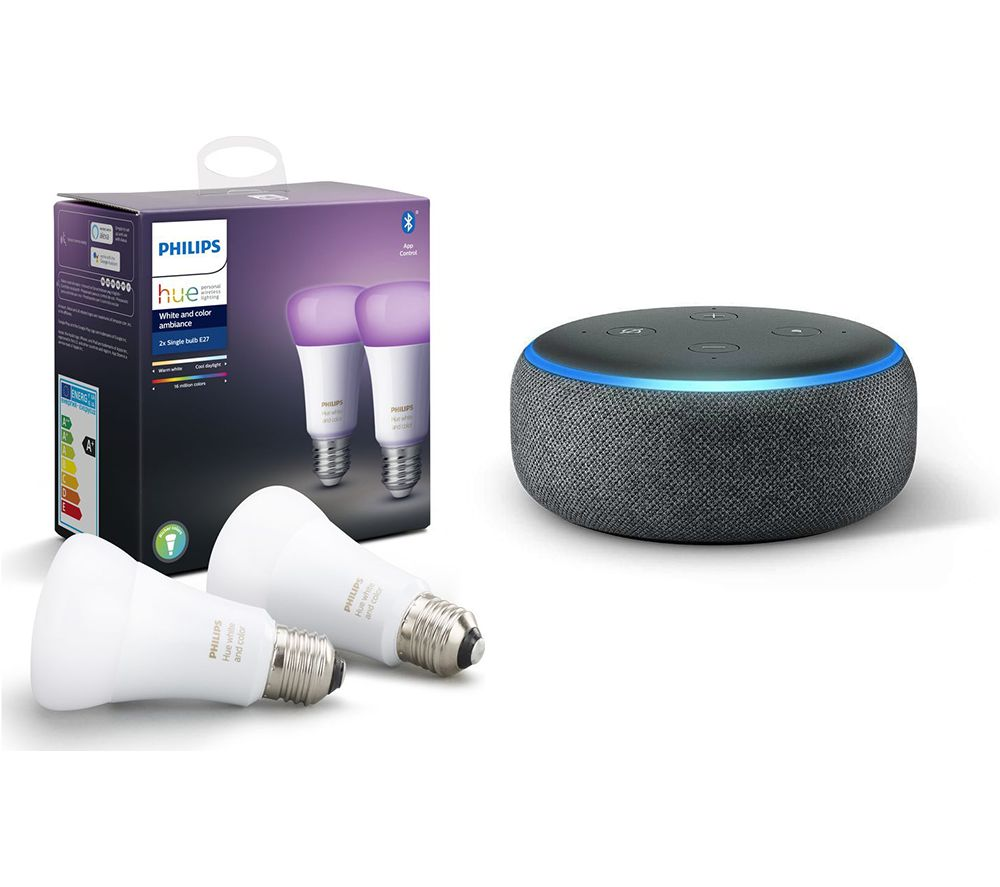 PHILIPS Hue White & Colour Ambiance E27 Bulb Twin Pack & Echo Dot (2018) - Charcoal