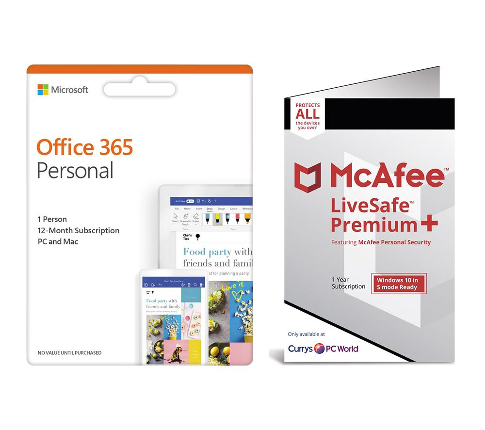 Image of MCAFEE LiveSafe Premium 2020 & Microsoft Office 365 Personal Bundle