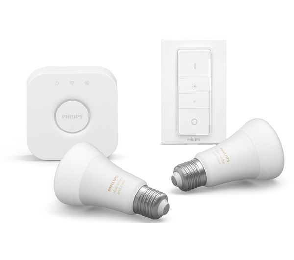 Image of PHILIPS HUE White & Colour Ambience Smart Lighting Starter Kit with Bridge & Switch - E27