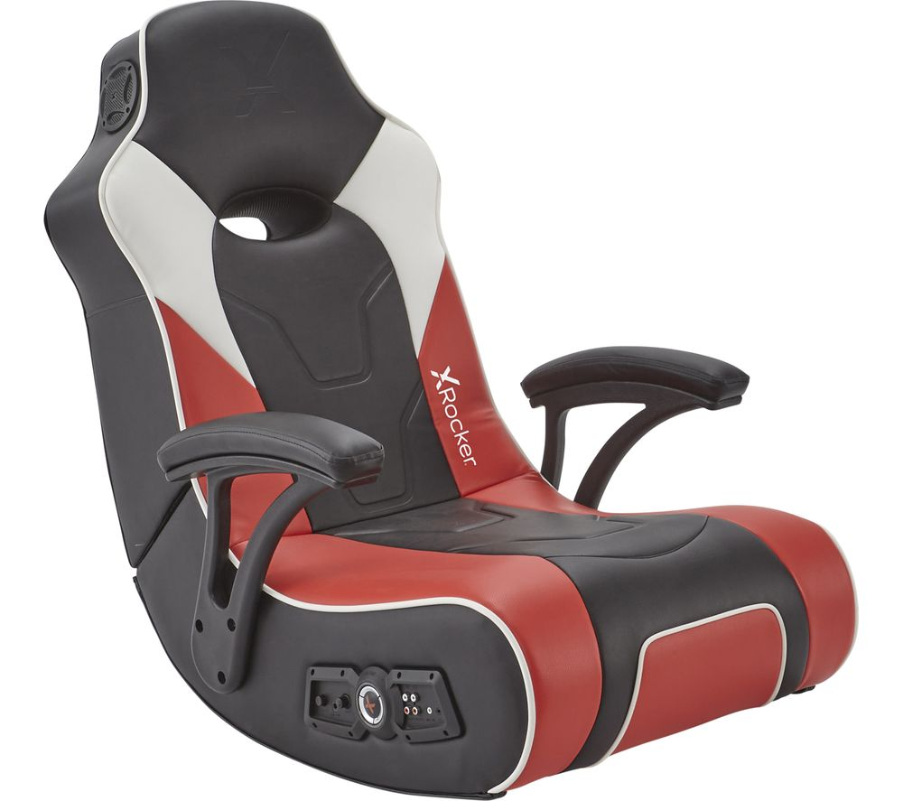 X ROCKER G-Force 2.1 Floor Rocker Gaming Chair - Black, Red & White