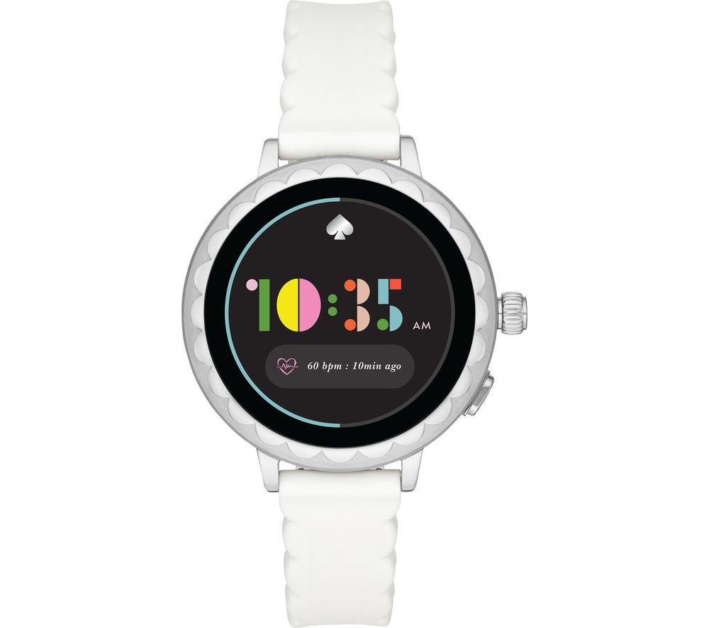 Image of KATE SPADE Scallop 2 KST2011 Smartwatch - White & Silver, Silicone Strap, 42 mm, White