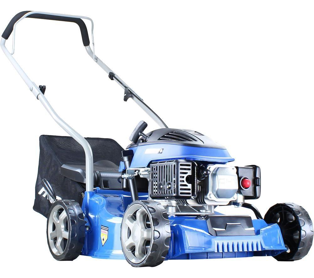 HYUNDAI HYM400P Push Petrol Rotary Lawn Mower - Blue, Petrol