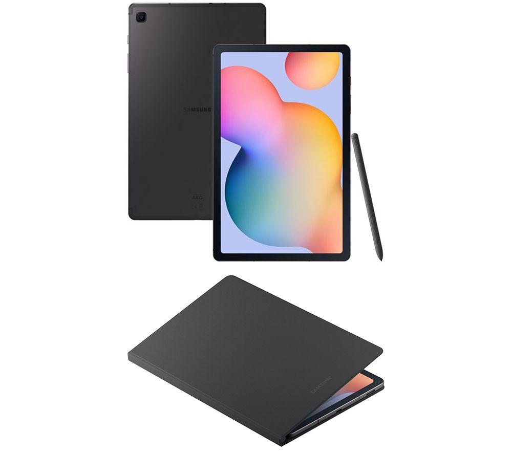 "Image of SAMSUNG Galaxy Tab S6 Lite 10.4"" 4G Tablet & Galaxy Tab S6 Lite 10.4"" Book Cover - 64 GB, Oxford Grey, Grey"