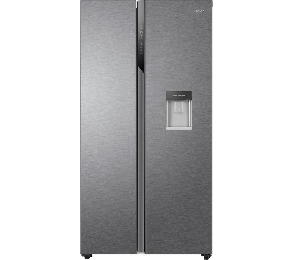 HAIER HSR3918EWPG American-Style Fridge Freezer - Silver, Silver
