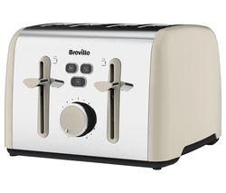 BREVILLE Colour Notes VTT629 4-Slice Toaster - Cream