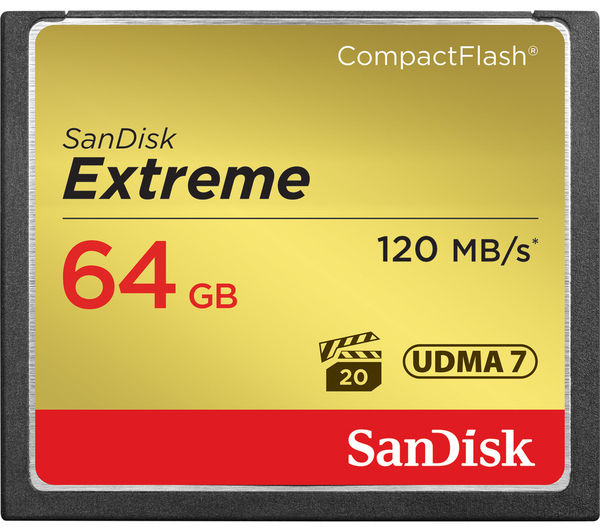Image of SANDISK Extreme 120 Compact Flash Memory Card - 64 GB