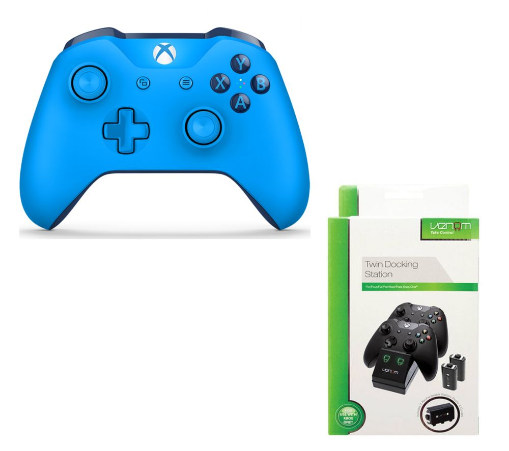 Image of MICROSOFT Xbox One Wireless Gamepad & VS2851 Xbox One Twin Docking Station Bundle