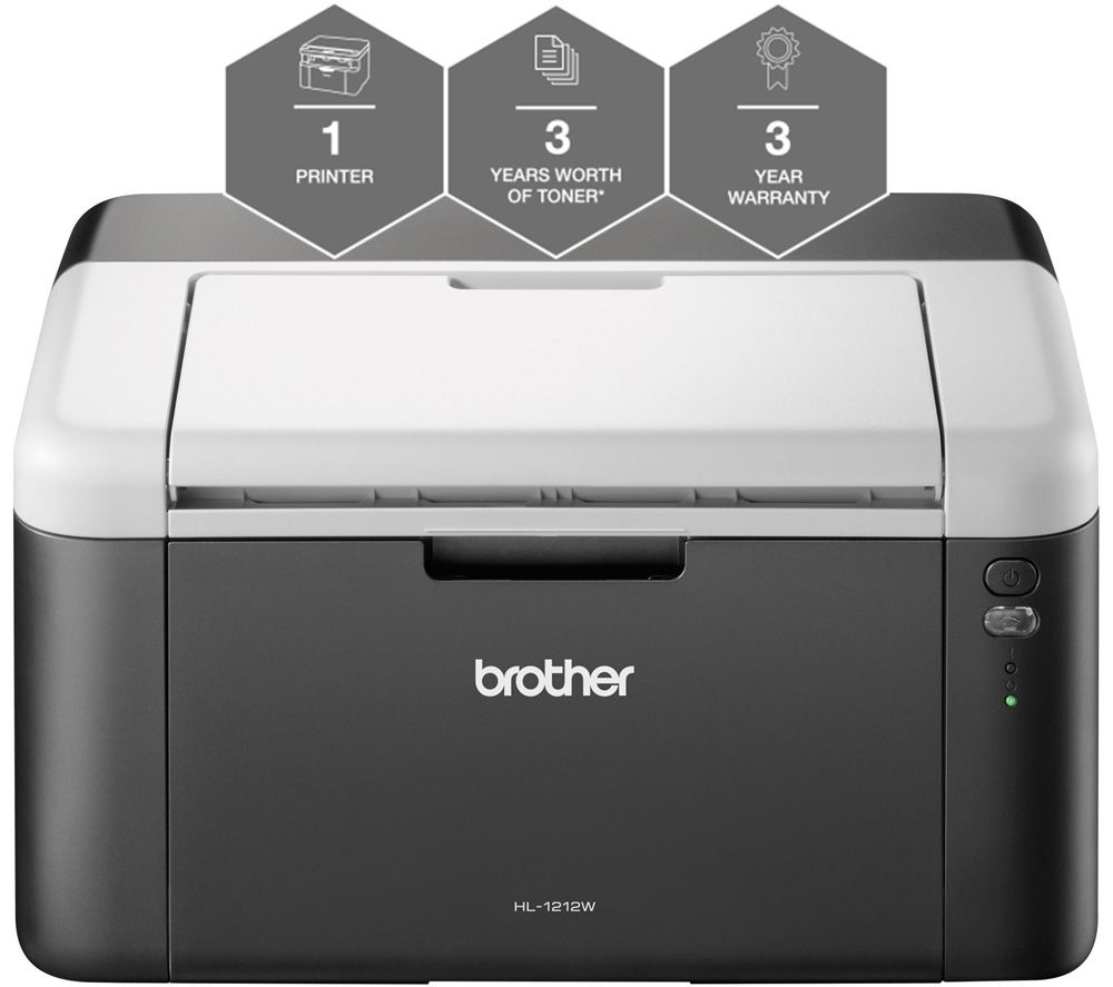BROTHER All In Box HL1212WVB Monochrome Wireless Laser Printer Bundle