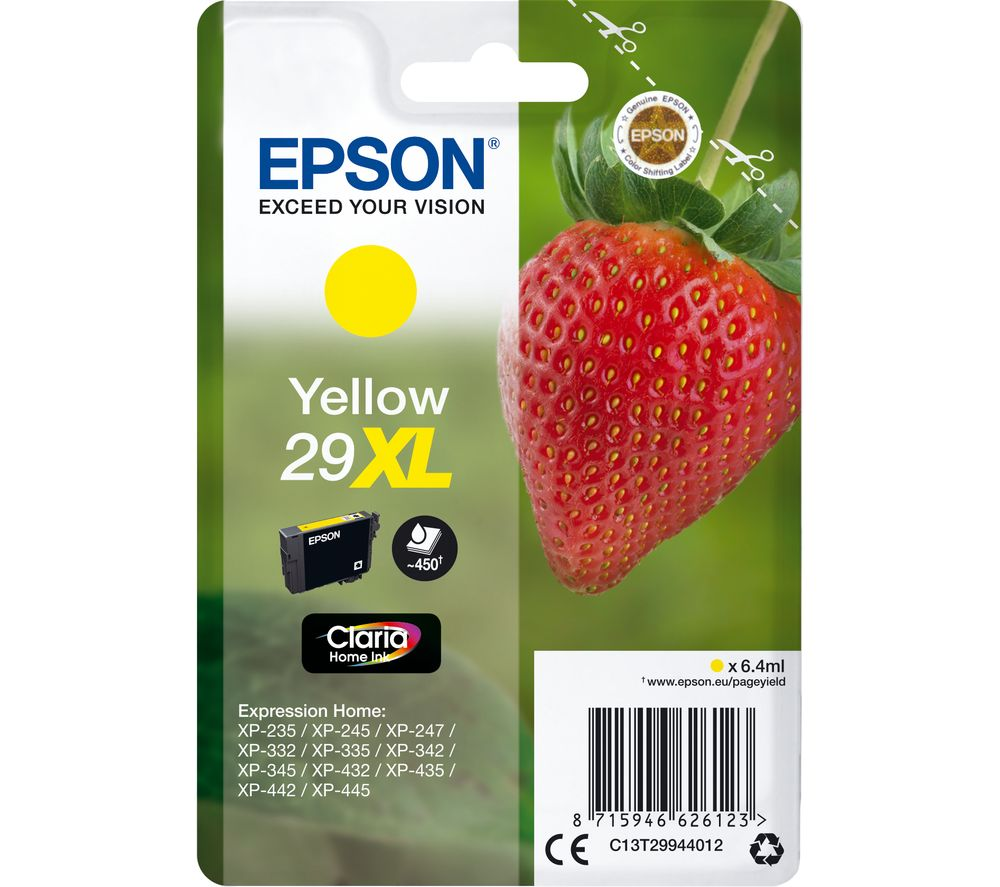 EPSON 29XL Strawberry Yellow Ink Cartridge, Yellow