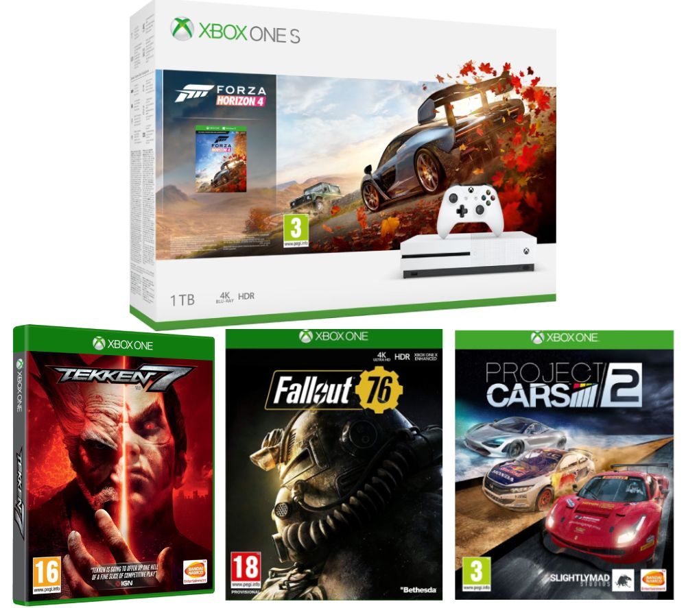 MICROSOFT Xbox One S, Forza Horizon 4, Fallout 76, Tekken 7 & Project Cars 2 Bundle