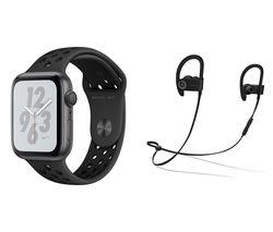 APPLE Watch Series 4 Nike+ & Powerbeats3 Wireless Bluetooth Headphones Bundle - Space Grey & Anthracite Sports Band, 44 mm