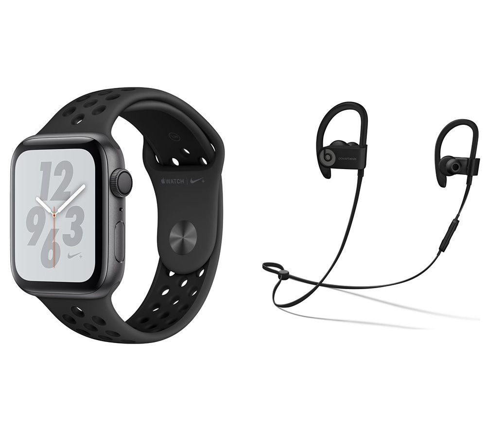 APPLE Watch Series 4 Nike & Powerbeats3 Wireless Bluetooth Headphones Bundle - Space Grey & Anthracite Sports Band, 44 mm, Grey cheapest retail price