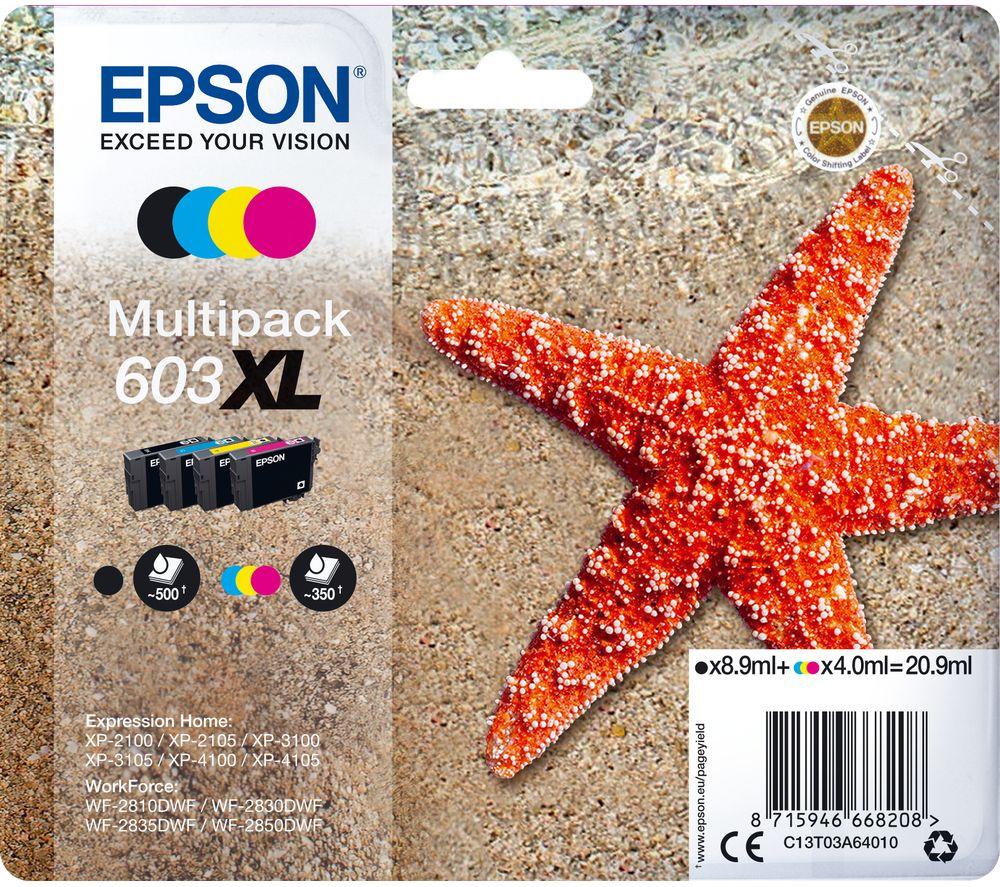 Image of 603 XL Starfish Cyan, Magenta, Yellow & Black Ink Cartridges - Multipack, Cyan