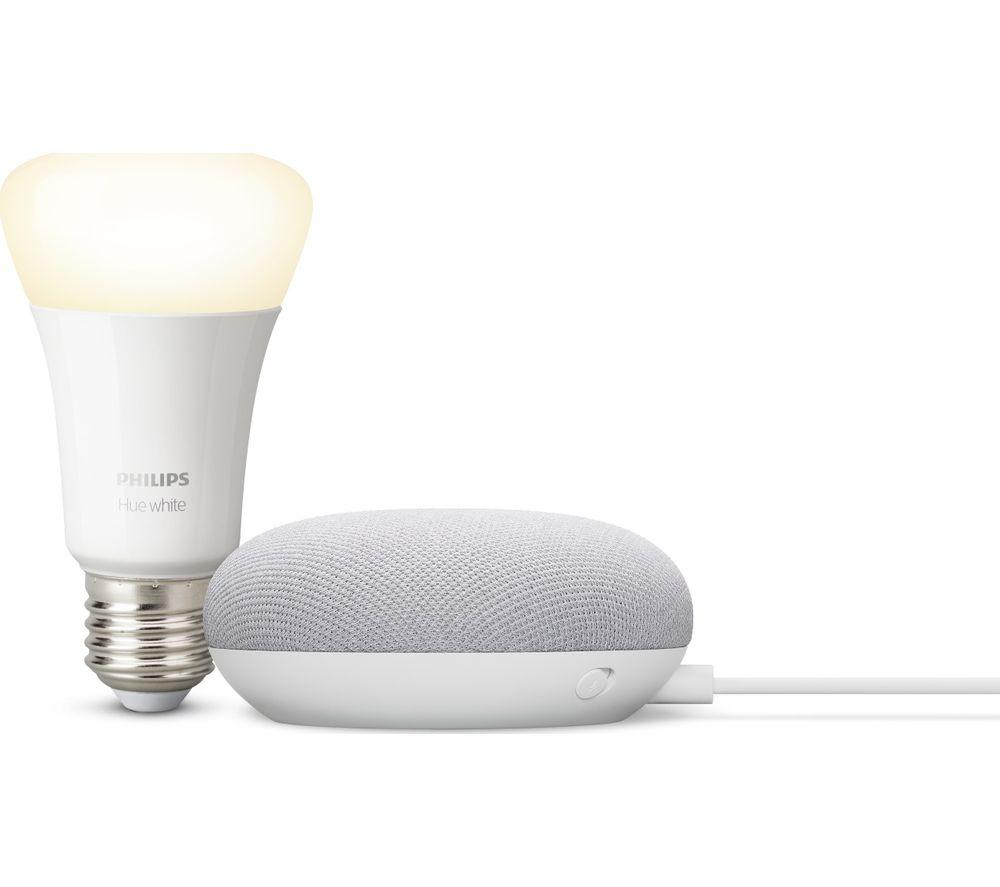 GOOGLE Nest Mini & Philips Hue White Bluetooth LED E27 Bulb Bundle - Chalk