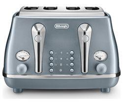 DELONGHI Icona Metallics CTOT4003.AZ 4-Slice Toaster - Blue