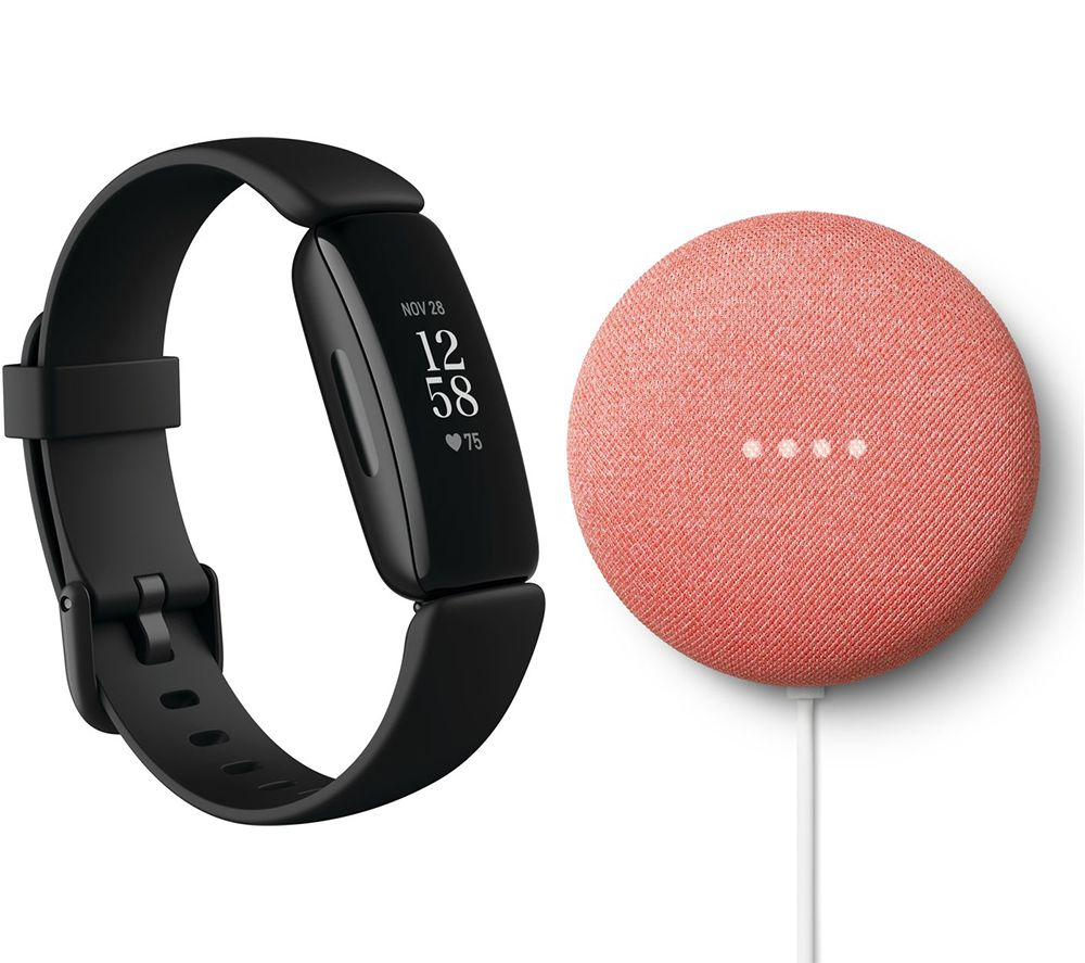 FITBIT Inspire 2 & Nest Mini (2nd Gen) Bundle - Black & Coral