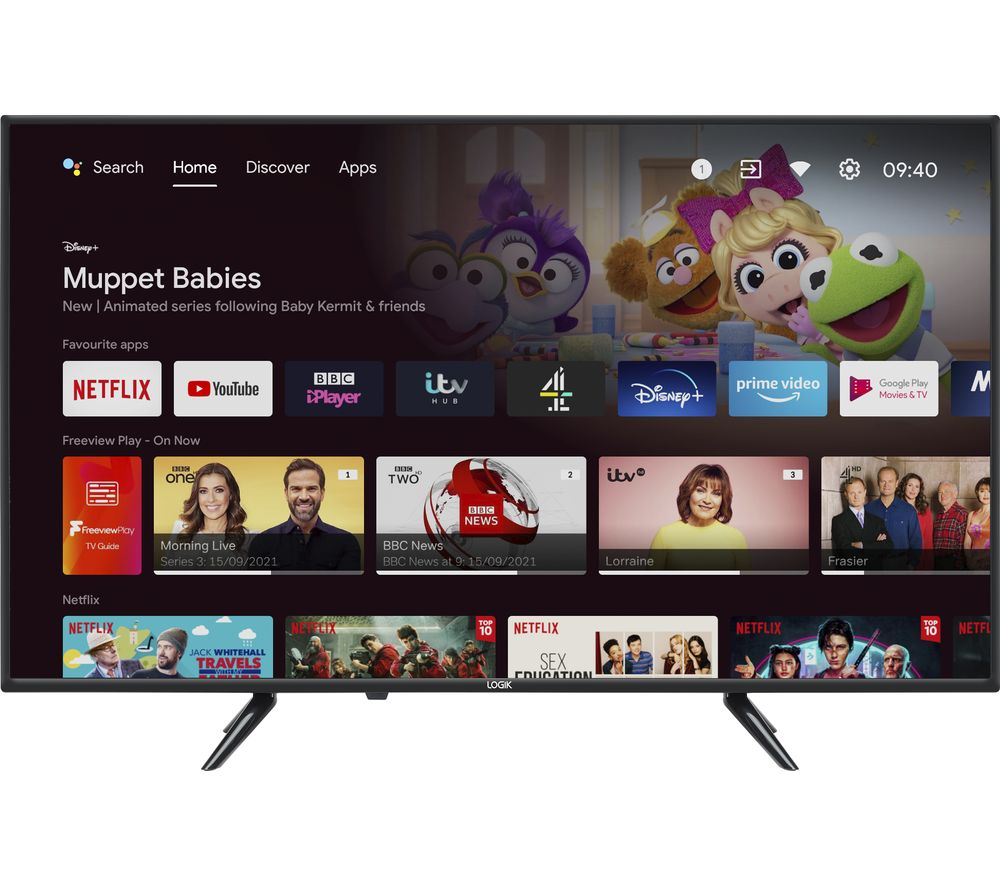 """LOGIK L43AUE21 Android TV 43"""" Smart 4K Ultra HD HDR LED TV with Google Assistant"""
