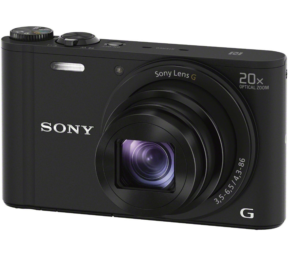 SONY Cyber-shot DSC-WX350B Superzoom Compact Camera - Black + Hard Shell Camera Case - Black