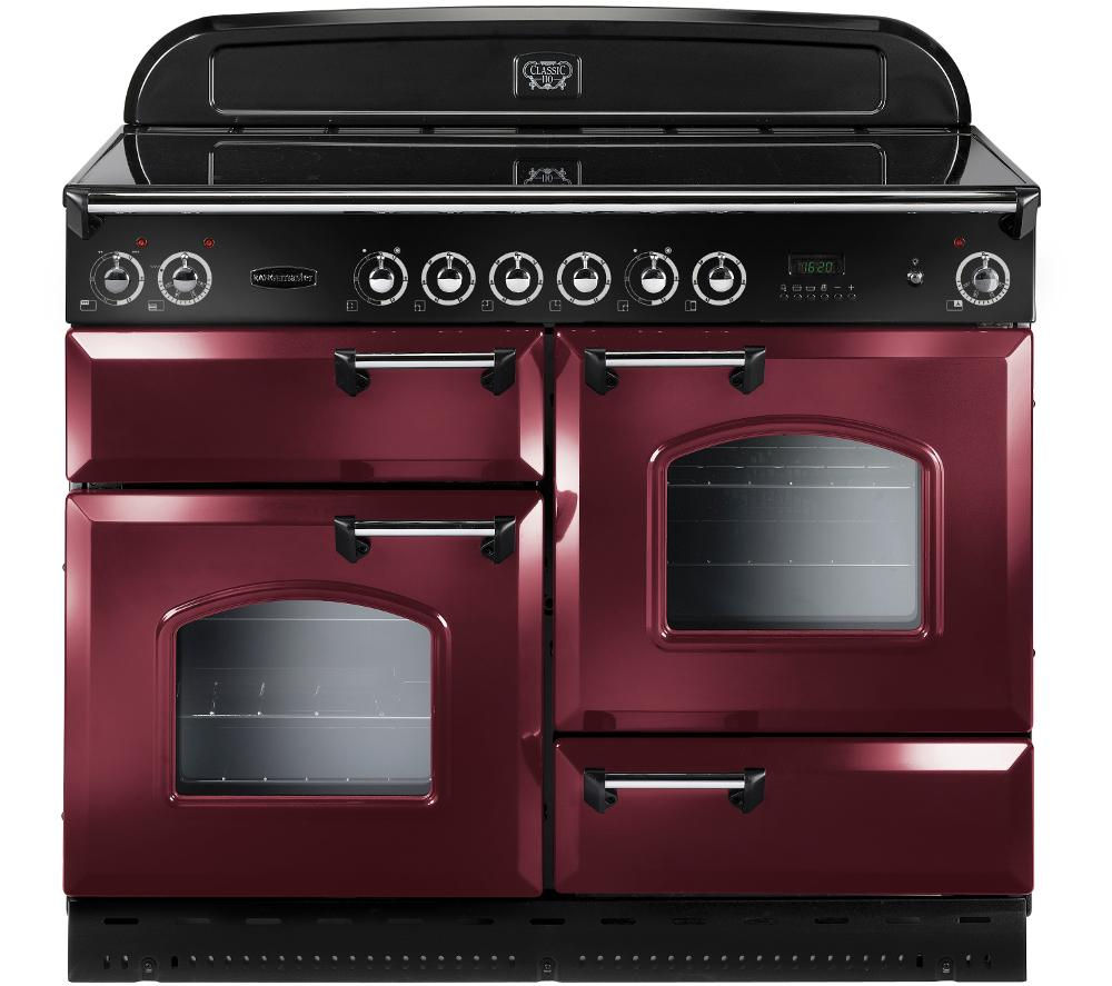 RANGEMASTER Classic 110 Electric Ceramic Range Cooker - Cranberry & Chrome