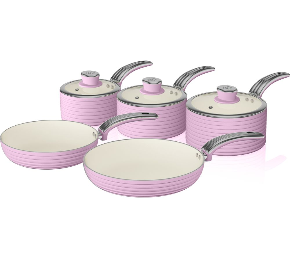 SWAN Retro SWPS5020PN 5-piece Non-stick Pan Set - Pink