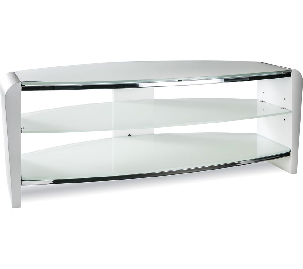 ALPHASON Francium 1100 TV Stand - White & White Glass