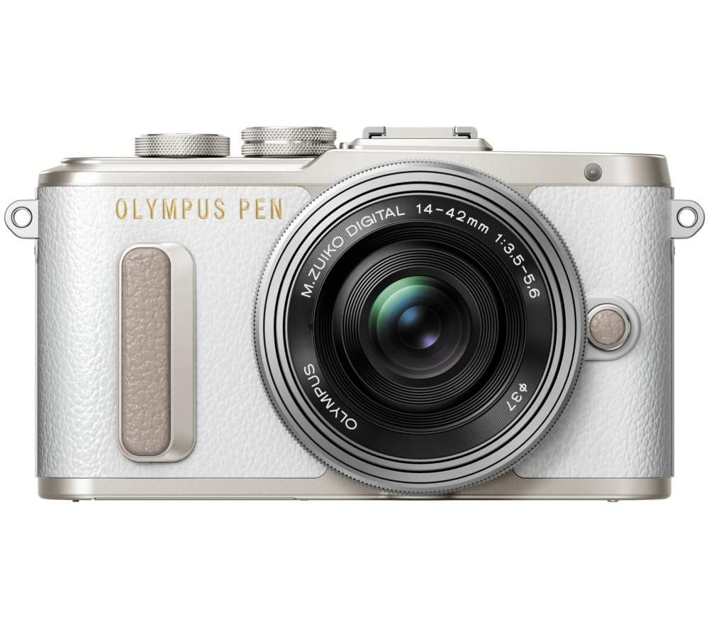OLYMPUS PEN E-PL8 Mirrorless Camera with 14-42 mm f/3.5-5.6 Lens - White + Ultra Plus Class 10 SDXC Memory Card - 64 GB + LCQCSC17 Mirrorless Camera Case - Black