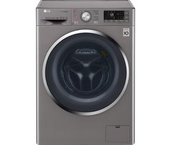 LG J+ 8 Series F4J8FH2S Smart 9 kg Washer Dryer - Shiny Steel