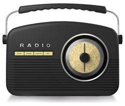 Portable DAB+/FM Retro Bluetooth Radio - Black