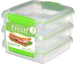 SISTEMA Fresh Square 0.45 litre Sandwich Boxes - Green, Pack of 3