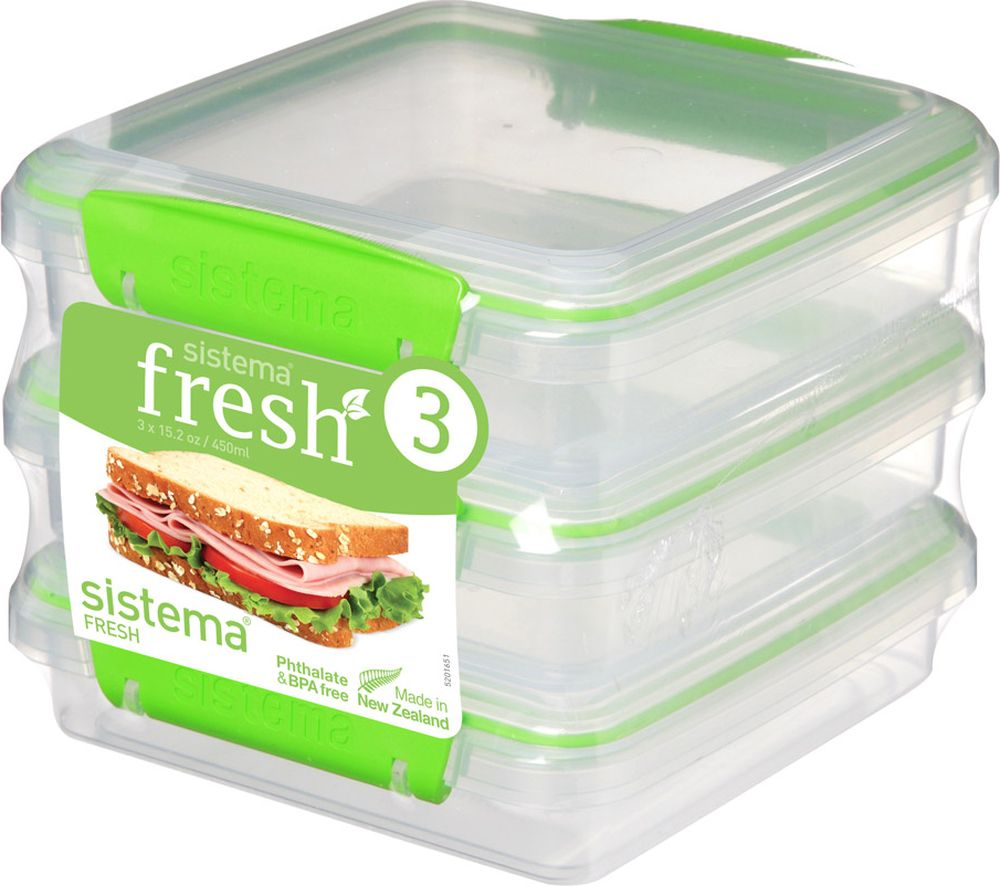 Compare prices for Sistema Fresh Square 0.45 litre Sandwich Boxes Pack of 3