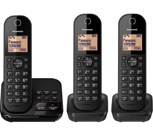 df1576869400 PANASONIC KX-TGC423EB Cordless Phone with Answering Machine - Triple  Handsets