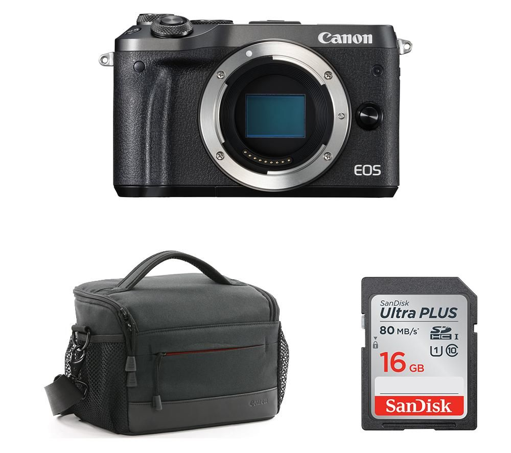 Image of CANON CANON EOS M6 Mirrorless Camera Body with Accessory Bundle