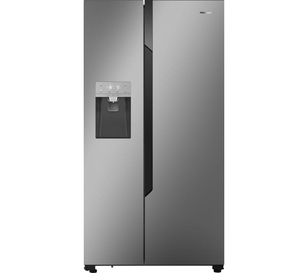 HISENSE American-Style Fridge Freezer Silver RS694N4TD1, Silver