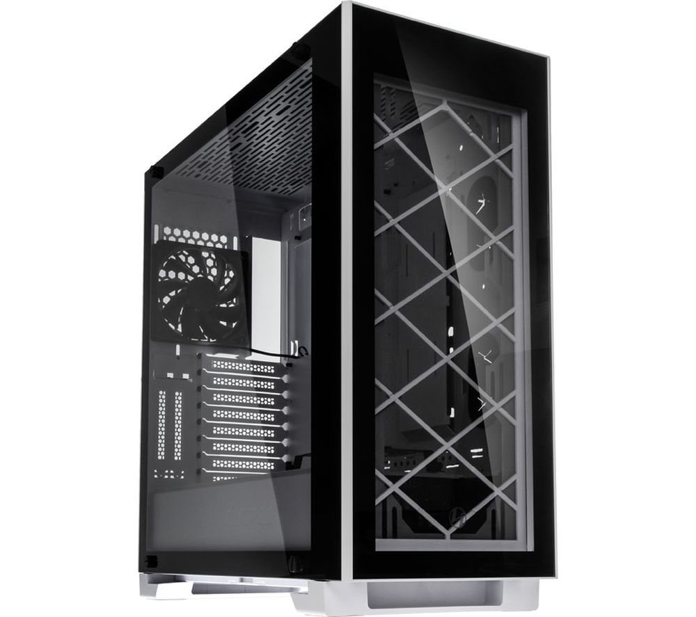 Image of Alpha 330W E-ATX Midi Tower PC Case - Black & White, Black