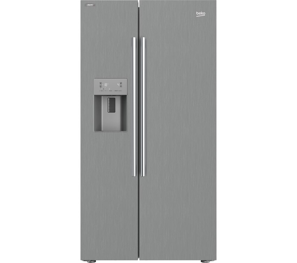 BEKO ASPM341LPX American-Style Fridge Freezer - Steel, Blue
