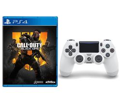 PS4 Call of Duty: Black Ops 4 & DualShock 4 V2 Wireless Controller Bundle - White