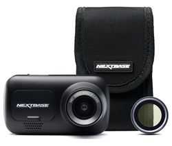 NEXTBASE 222 Full HD Dash Cam, Case & Polarising Filter Bundle - Black