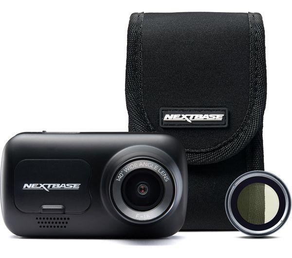 Image of NEXTBASE 222 Full HD Dash Cam, Case & Polarising Filter Bundle - Black