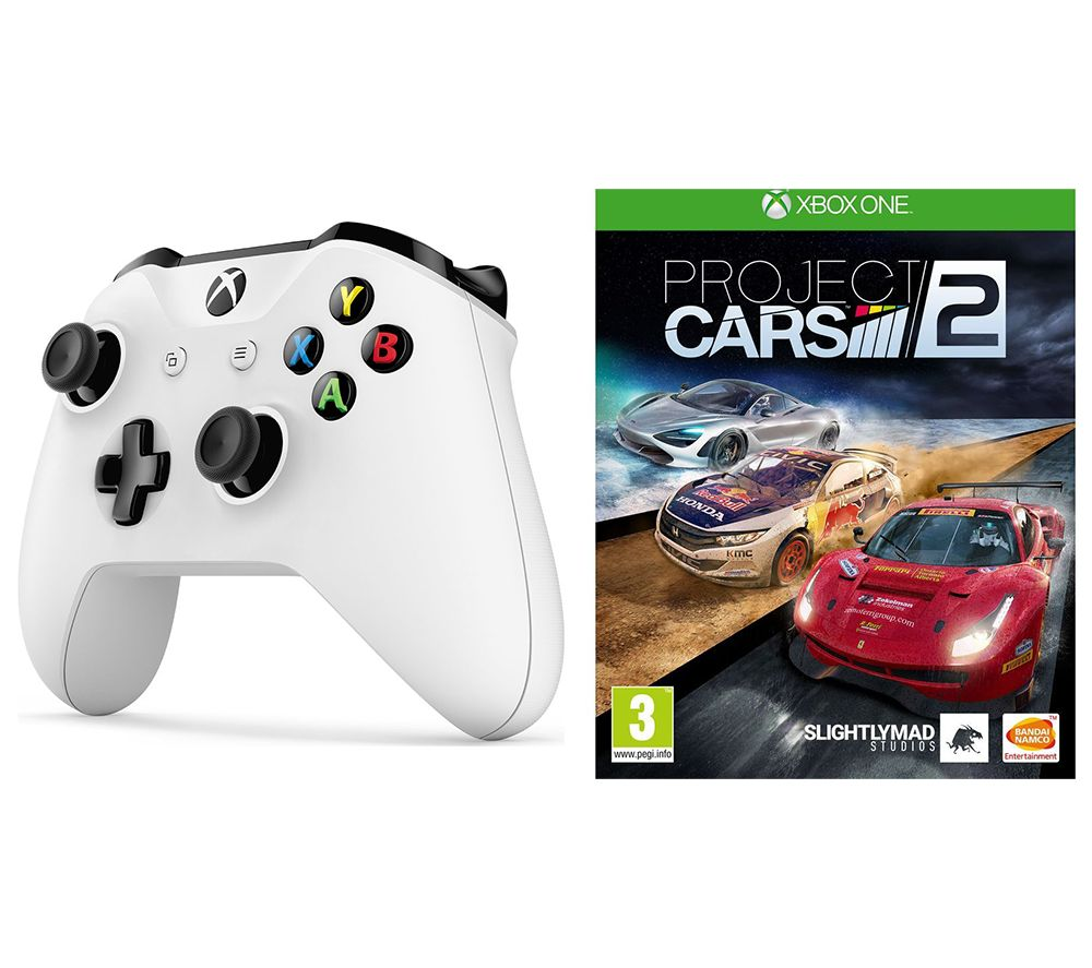 MICROSOFT Xbox One Wireless Controller & Project Cars 2 Bundle - White