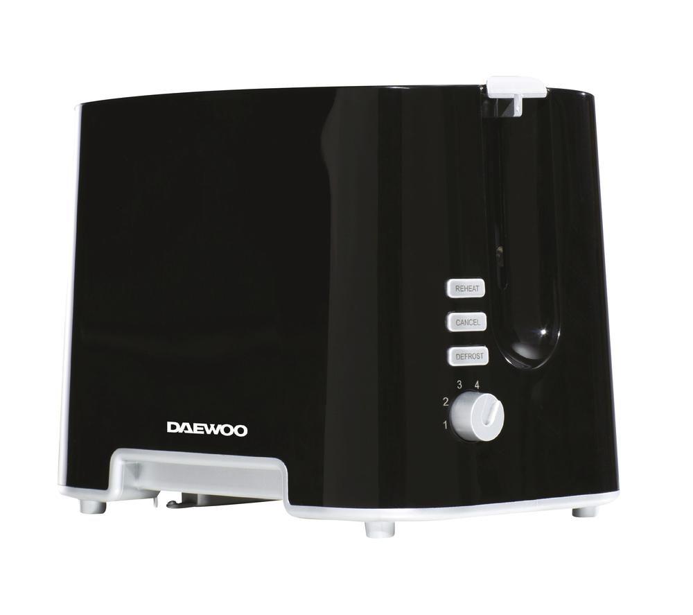 DAEWOO SDA1687 2-Slice Toaster – Black & Chrome