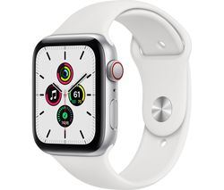 Watch SE Cellular - Silver Aluminium with White Sports Band, 44 mm