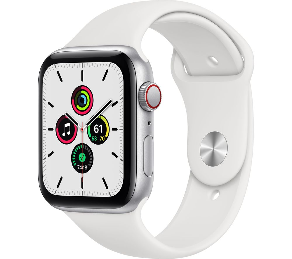 APPLE Watch SE Cellular - Silver Aluminium with White Sports Band, 44 mm